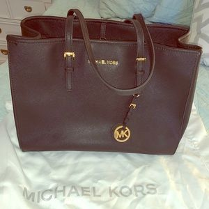 Michael Kora Jet Set Saffiano Leather Tote Bag